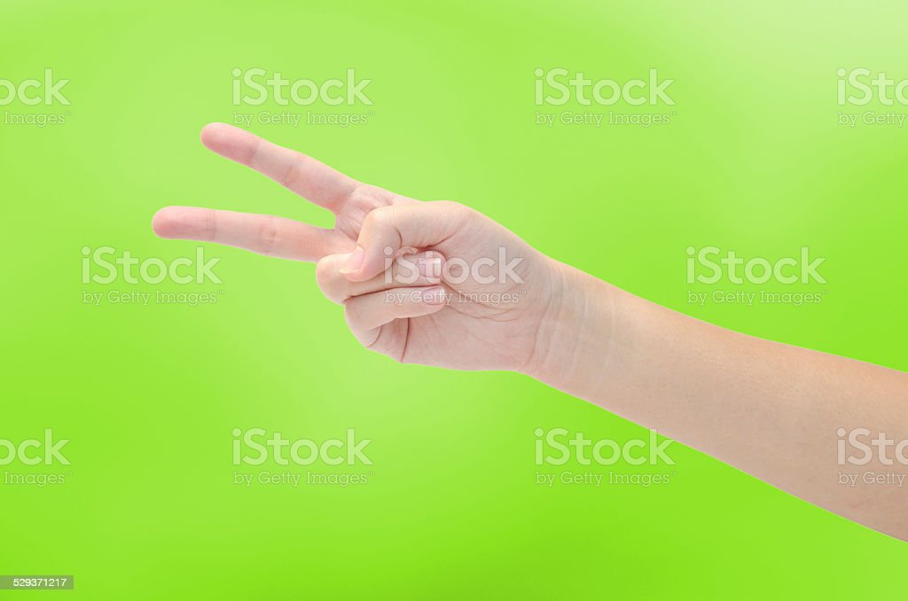 women hand making sign isolated on white background