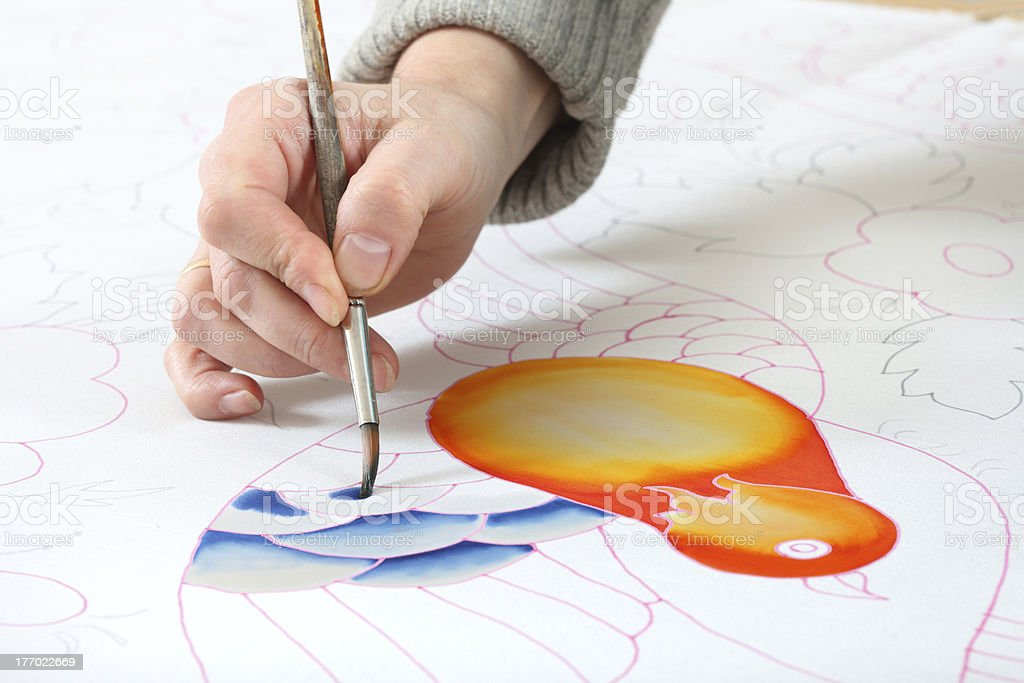 women hand painted silk royalty-free stock photo