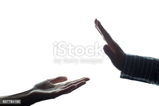istock Women hand stretched with alms across from the refusal 637784190