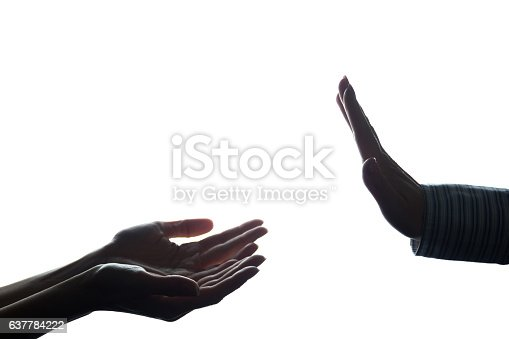 istock Women hand stretched with alms across from the refusal 637784222