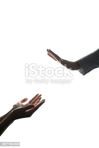 istock Women hand stretched with alms across from the refusal 637784306