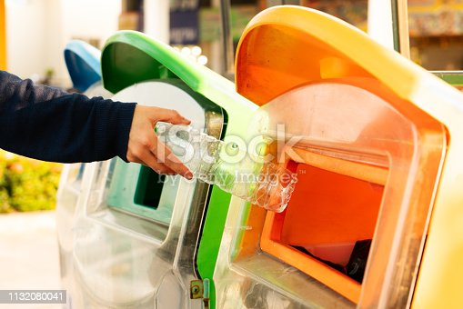istock women hand throwing away the garbage to the bin/trash, sorting waste/garbage before drop to the bin 1132080041