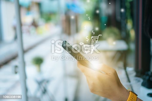 istock Women hand using smartphone do online selling for people shopping online in black friday with chat box, cart, dollar icons pop up. Social media maketing concept. 1090338196