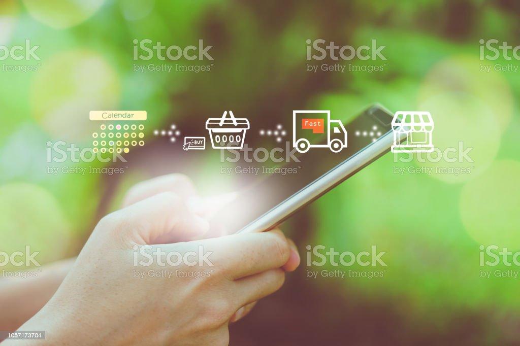 9c34ac1dc021a7 Frauen-Hand mit Smartphone shopping-Online-Shop mit verschiedenen Doodle  Symbole pop-