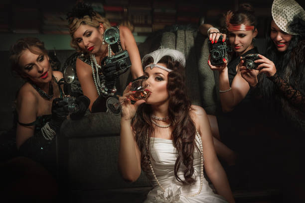 women have fun on bachelorette party - burlesque stock photos and pictures