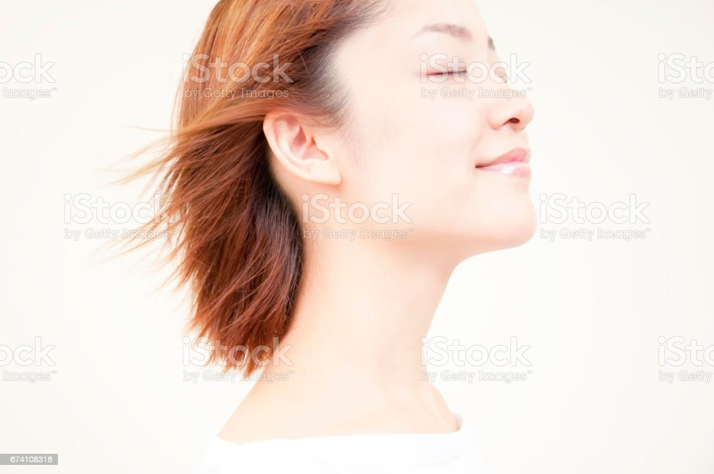 Women have hair blowing in the wind royalty-free stock photo