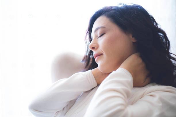 Women have neck pain health care concept. stock photo