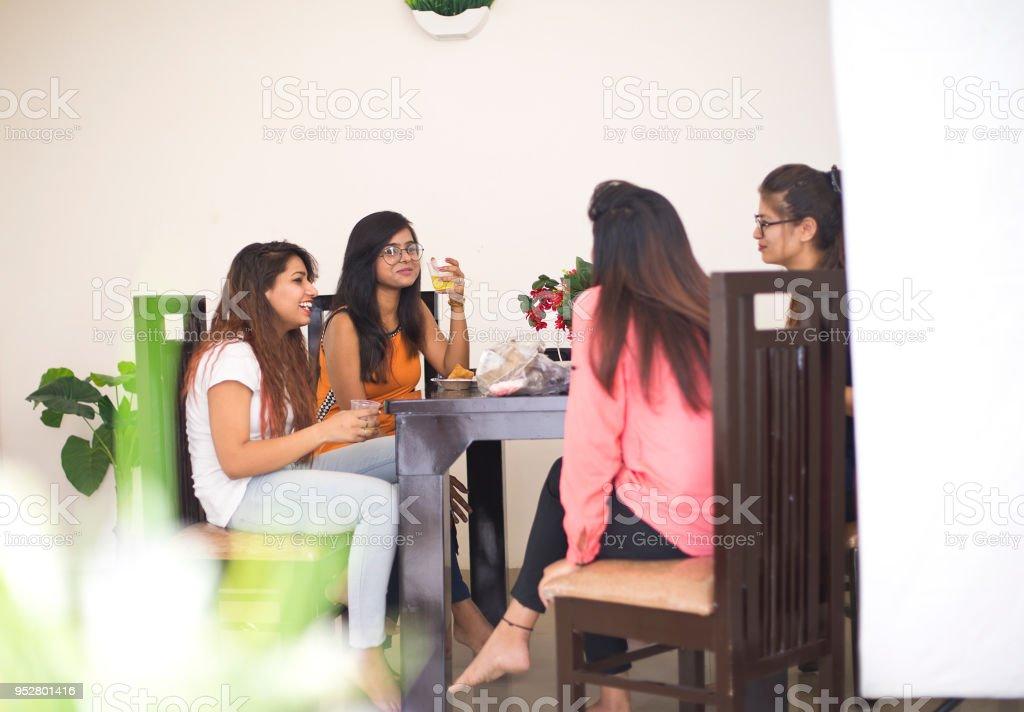 Women having breakfast at home stock photo