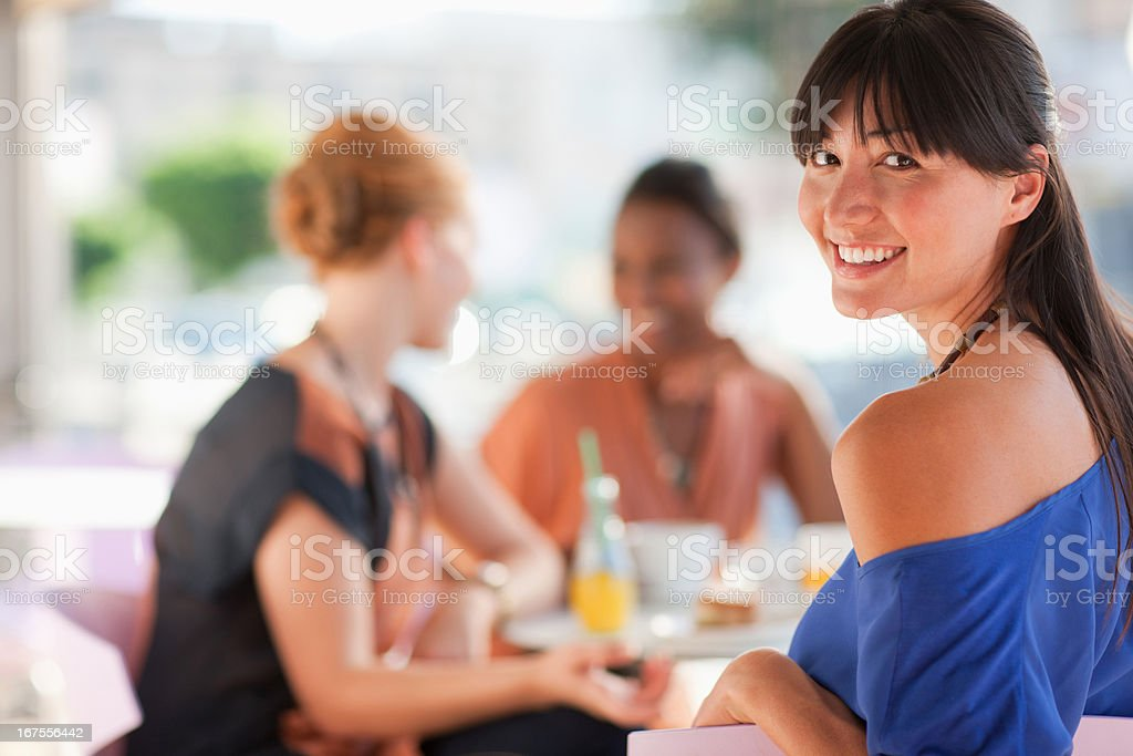 Women having lunch together at cafe royalty-free stock photo