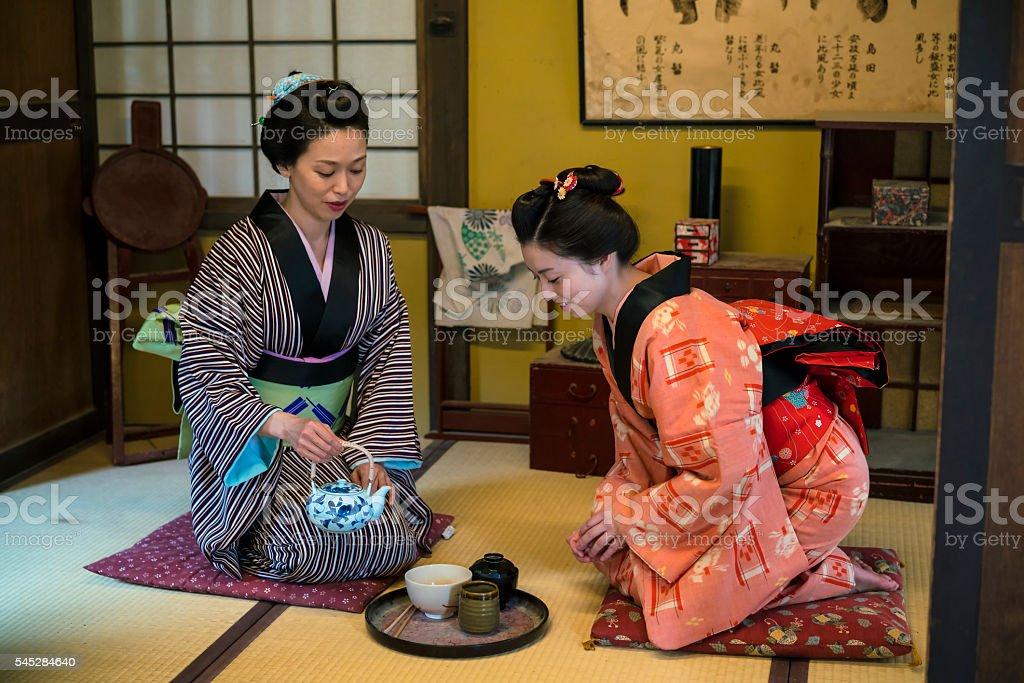 Women having traditional Japanese tea in Kyoto Japan stock photo