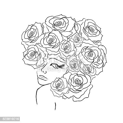 Women Head With Roses Decorative Coloring Page Stock Photo