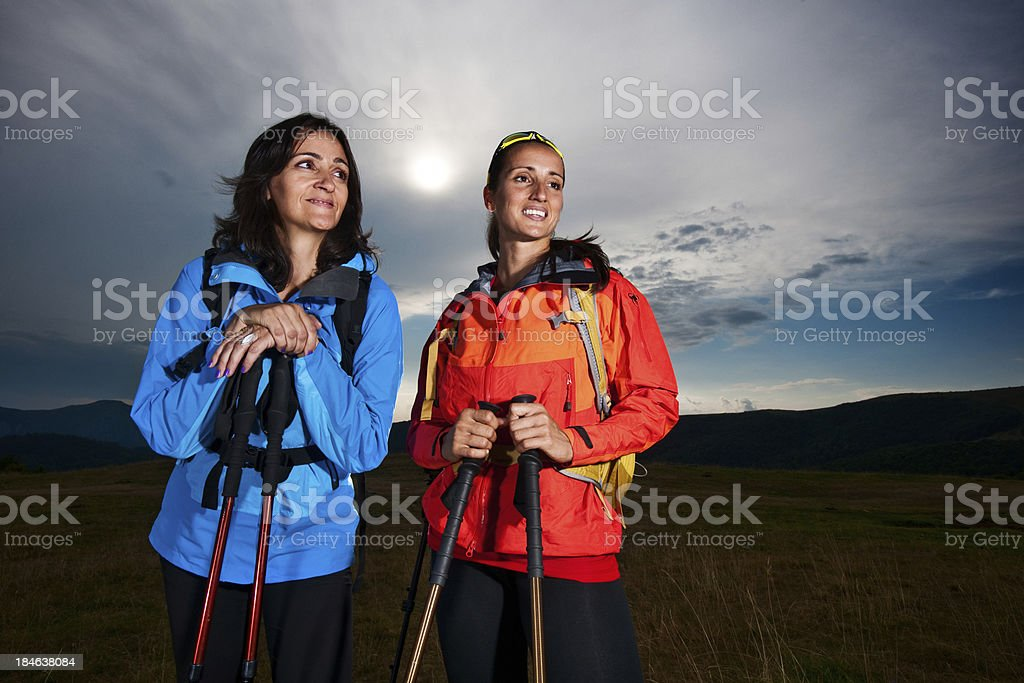 Women hikers on pursuit royalty-free stock photo