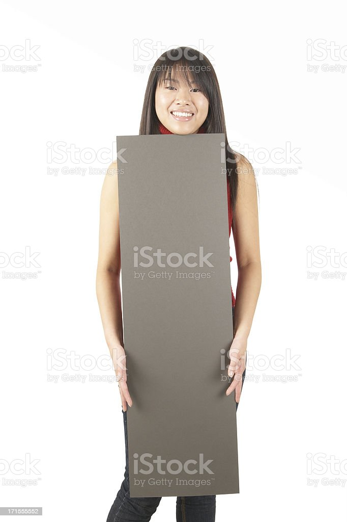 women holding a sign #14 royalty-free stock photo