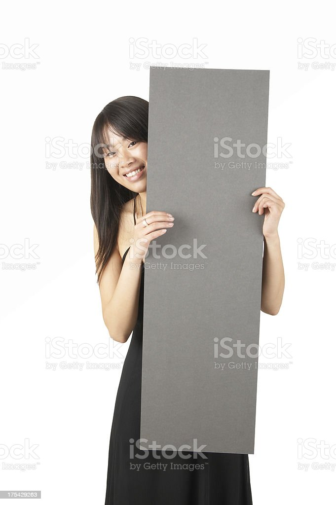 women holding a sign #6 royalty-free stock photo