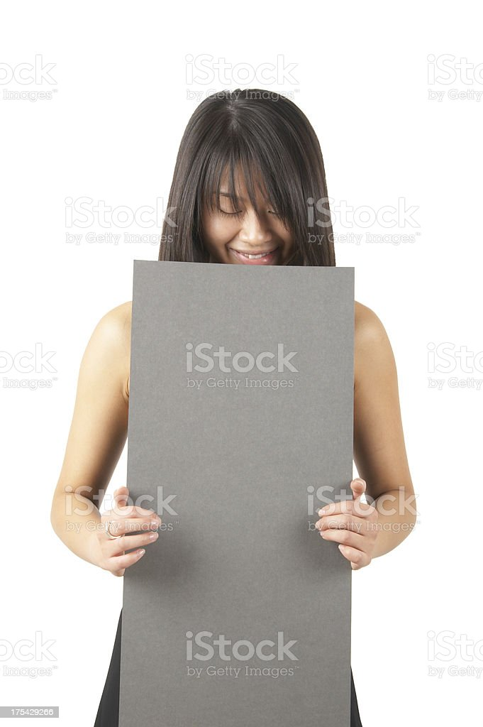 women holding a sign #7 royalty-free stock photo