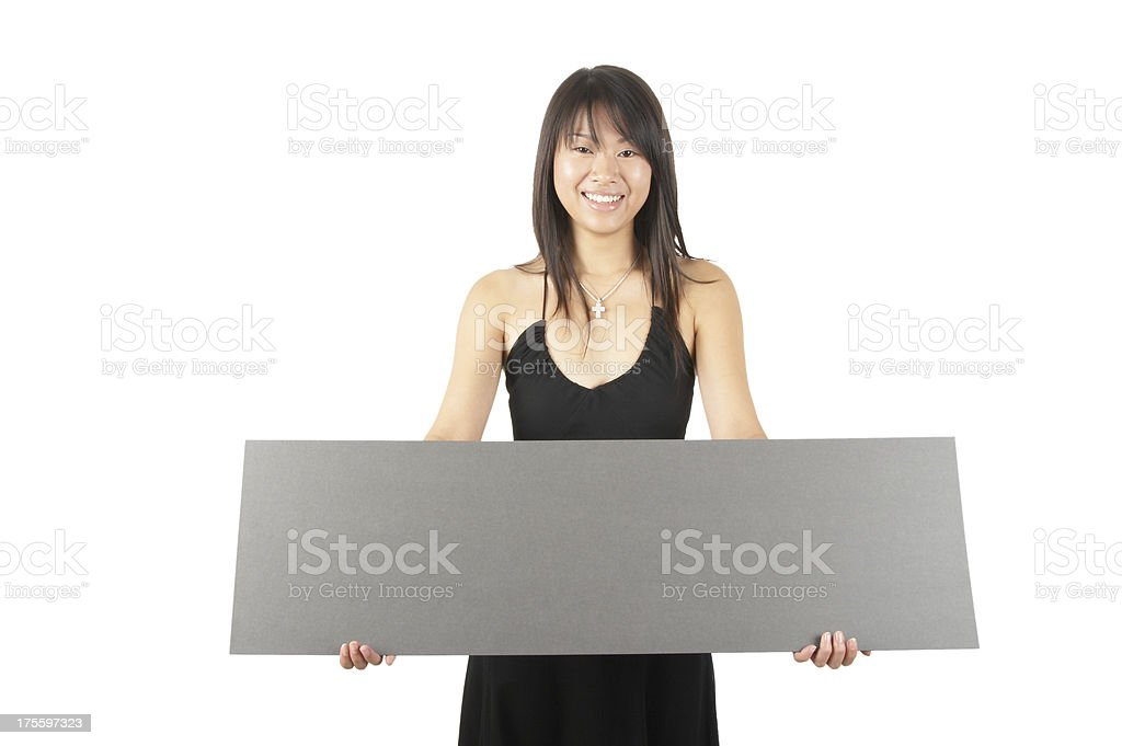 women holding a sign #2 royalty-free stock photo