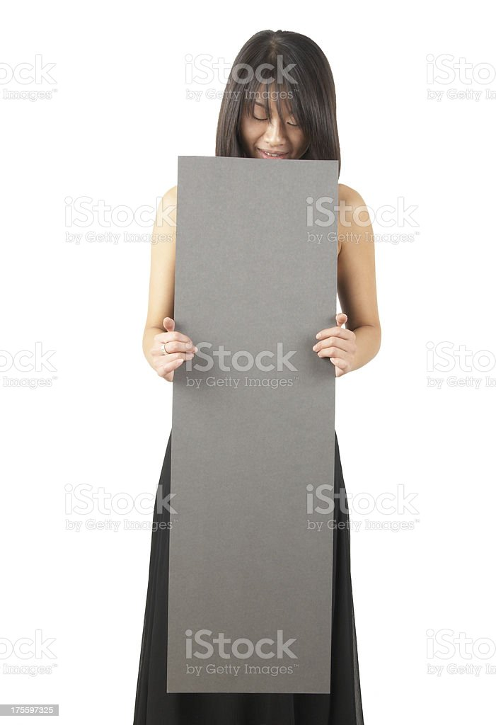 women holding a sign #8 royalty-free stock photo