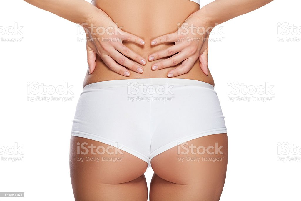 women holding arms on her back royalty-free stock photo