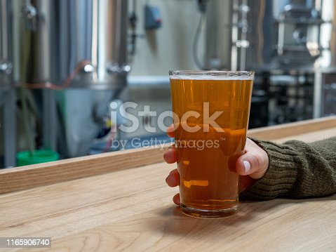 istock Women holding pint of beer on counter at front of fermentation tanks and brewery equipment 1165906740