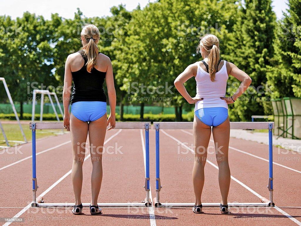 Women Hurdling royalty-free stock photo