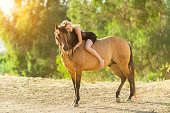 istock Women In A Black Dress Hugging Her Horse 819438100