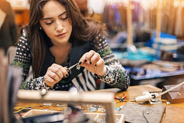 Women in arts and crafts stock photo