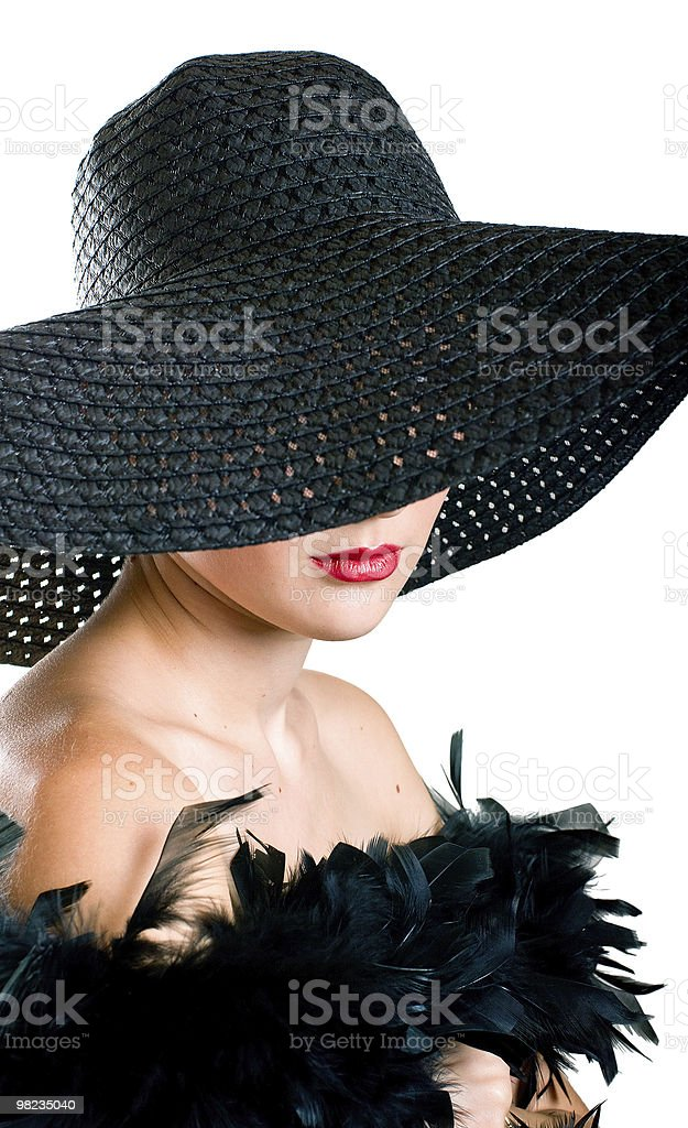 women in black hat and boa royalty-free stock photo