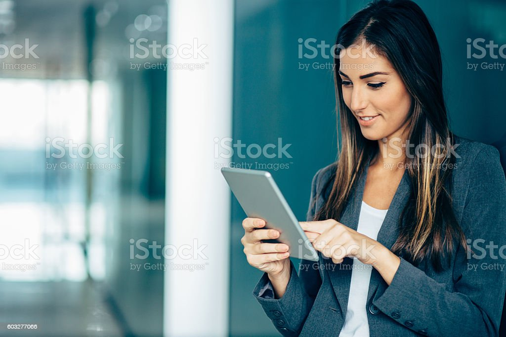 Women in business and modern technologies stock photo