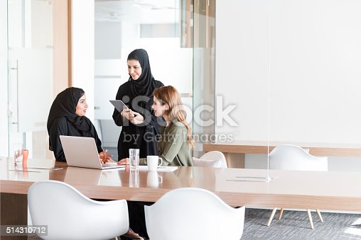 istock Women in business meeting in Middle East office 514310712