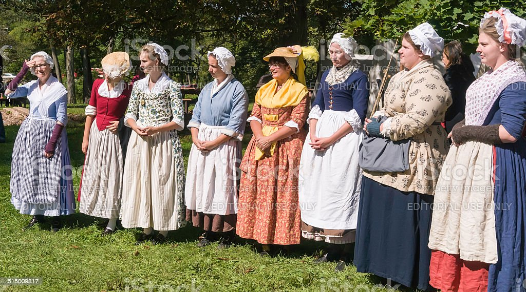 Women in colonial dress of the 18th century stock photo