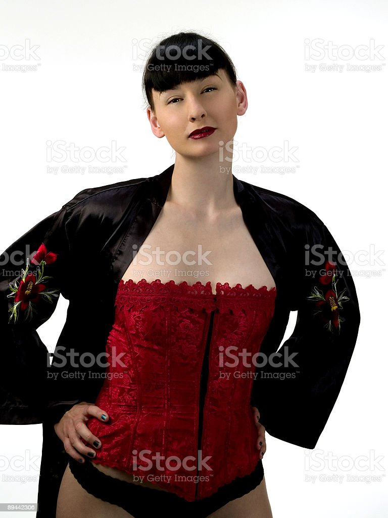 Women in Corset and Robe royalty free stockfoto