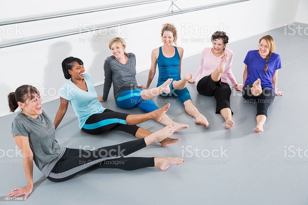 Women in exercise class stock photo