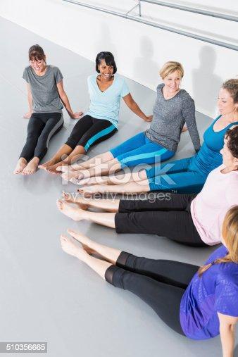 istock Women in exercise class 510356665