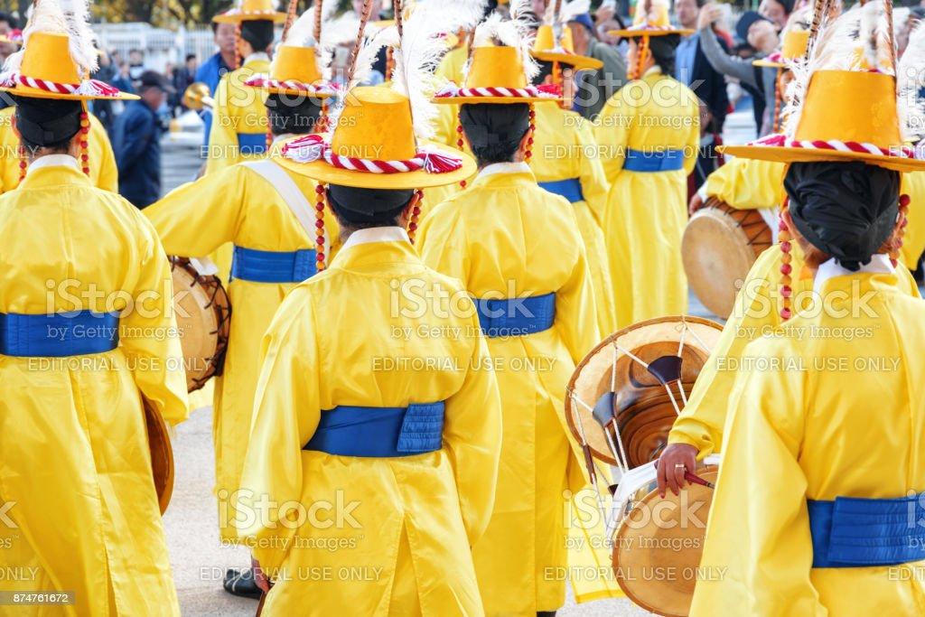 Women in Korean traditional dress, Gyeongbokgung Palace stock photo