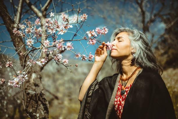 Women in nature. stock photo