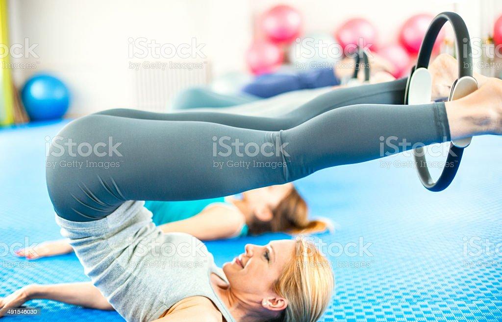 Women in Pilates class. stock photo