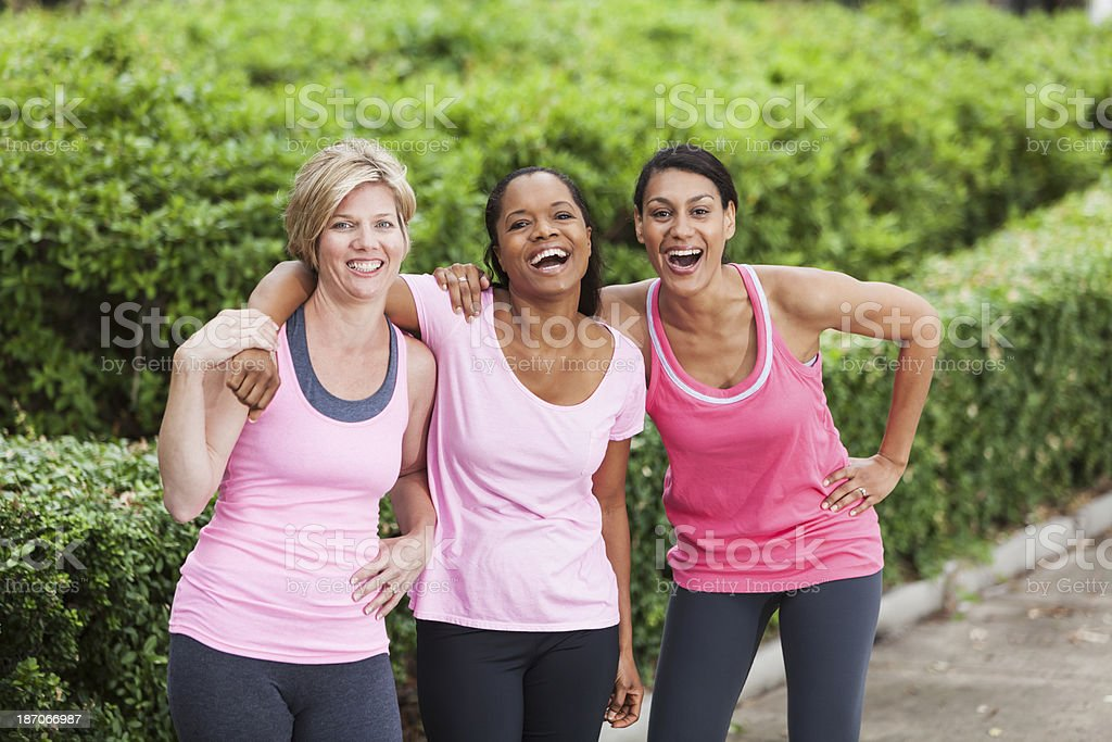 Women in pink stock photo