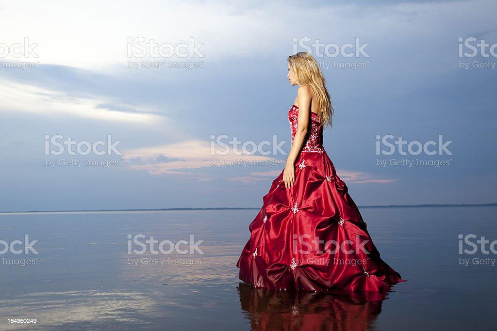 walking in red dress