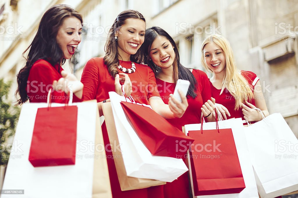 Women in red stock photo