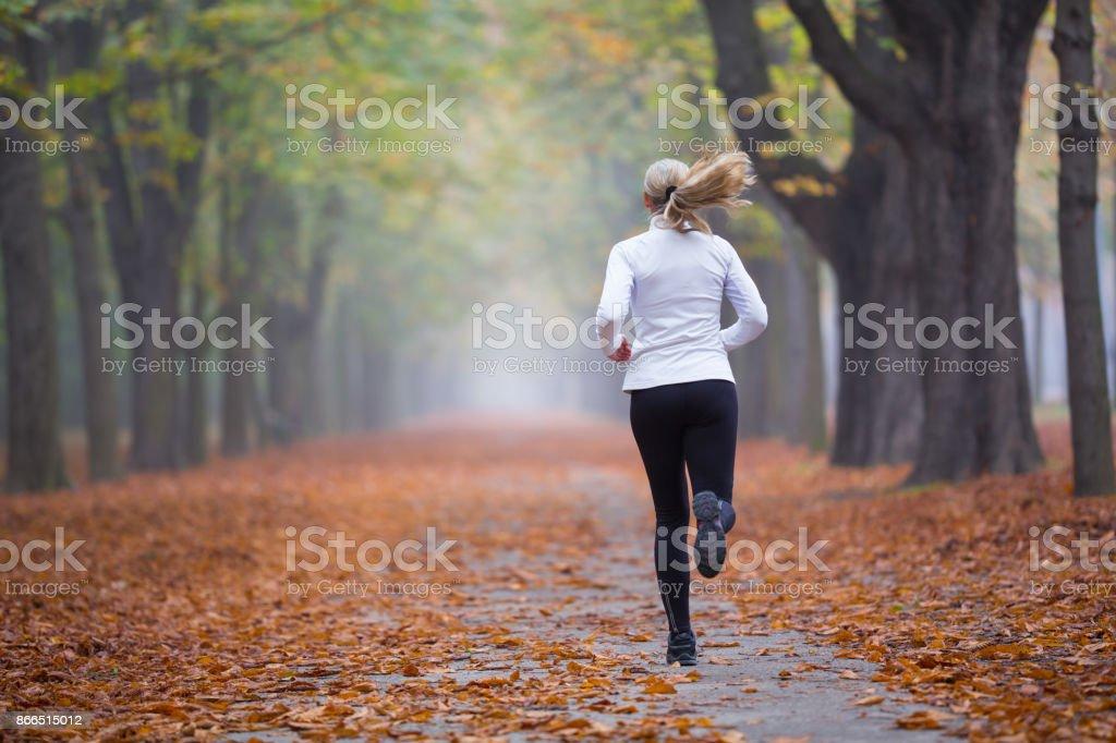 Women in Sport - rear view woman jogging alone in autumn stock photo