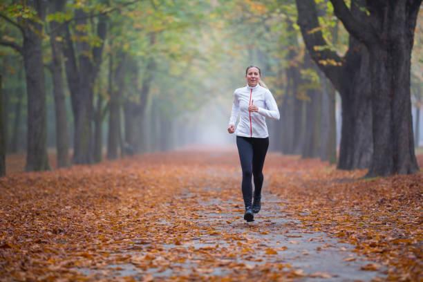 Mujeres en el deporte - ejecutar capacitación en callejón en otoño - foto de stock