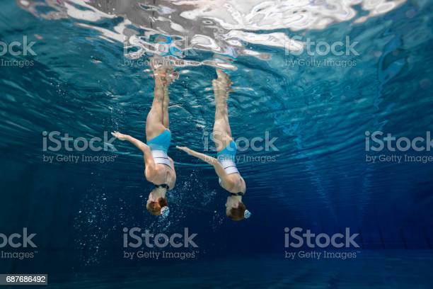 training synchronized swimming siblings in crystal clear water