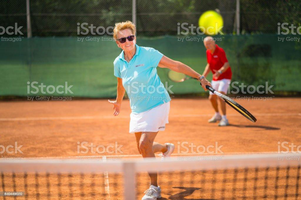 Women in Sport, tennis double match stock photo
