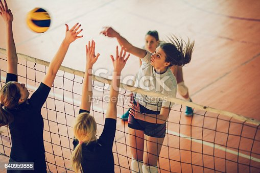Young women playing volleyball. They are team and have training. You can find video files from same shooting in our portfolio.