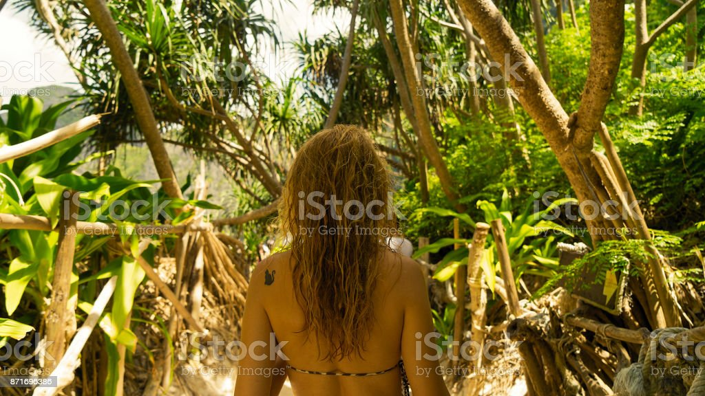 women in the Forest stock photo