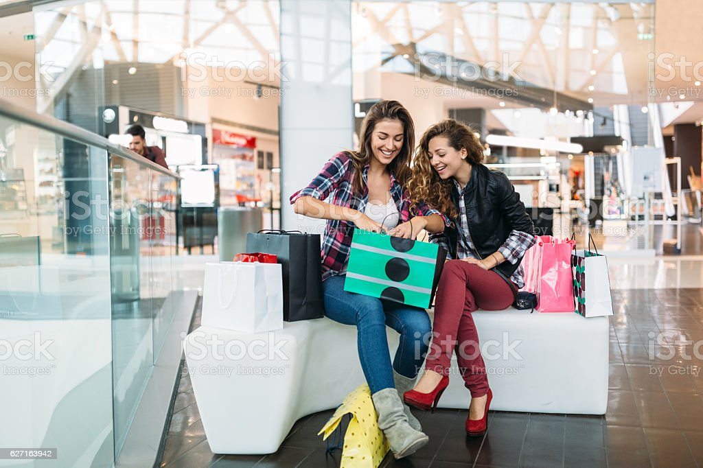 Women in the shopping mall stock photo