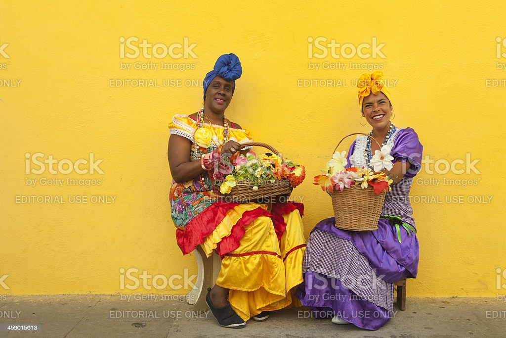 Women in Traditional Clothing at street of Old Havana Cuba stock photo