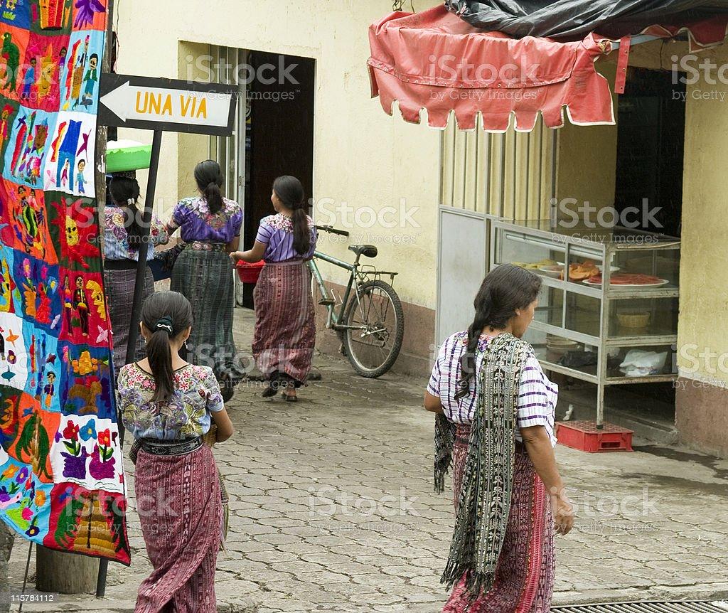 Women in traditional costume Santiago Atitlan stock photo