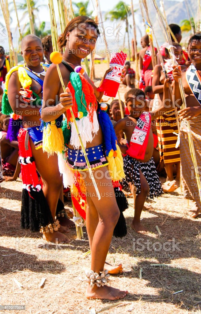 Women in traditional costumes marching at Umhlanga aka Reed Dance 01-09-2013 Lobamba, Swaziland stock photo