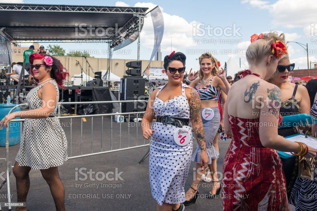 Women in vintage clothing at a street fest in Chicago stock photo